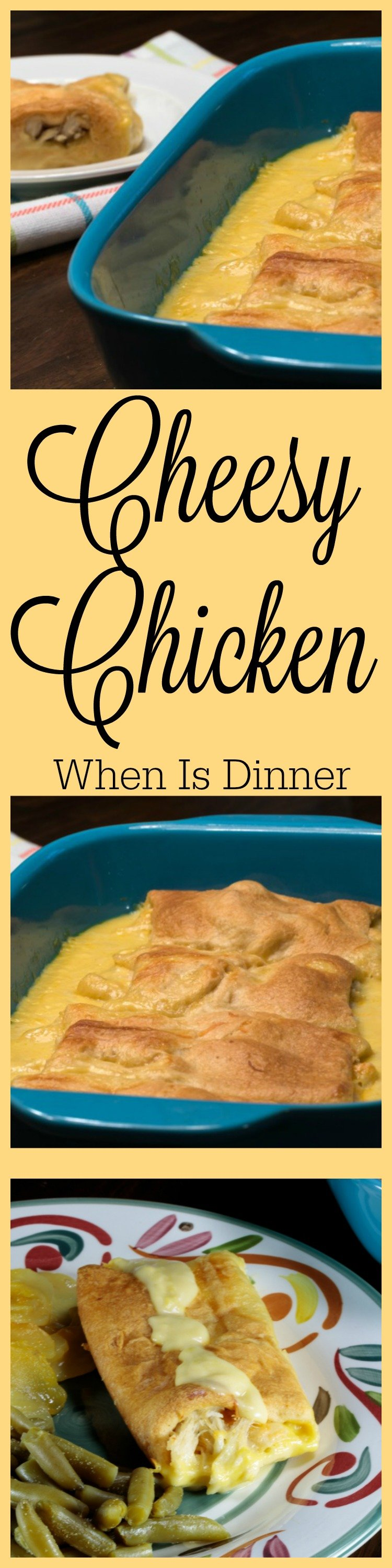 This Cheesy Chicken Crescent Roll Recipe is quick and easy to make. It has 5 ingredients and is ready in under 30 minutes. Delicious!!!