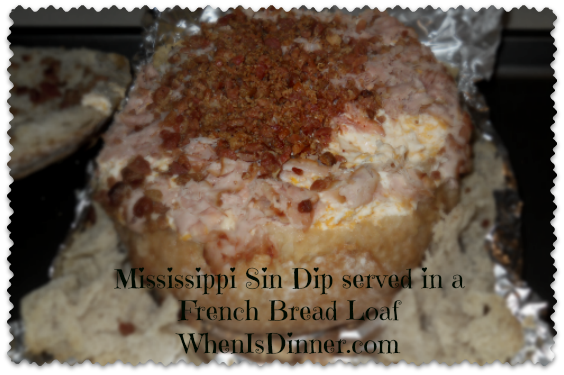 Mississippi Sin Dip in a French Bread Loaf