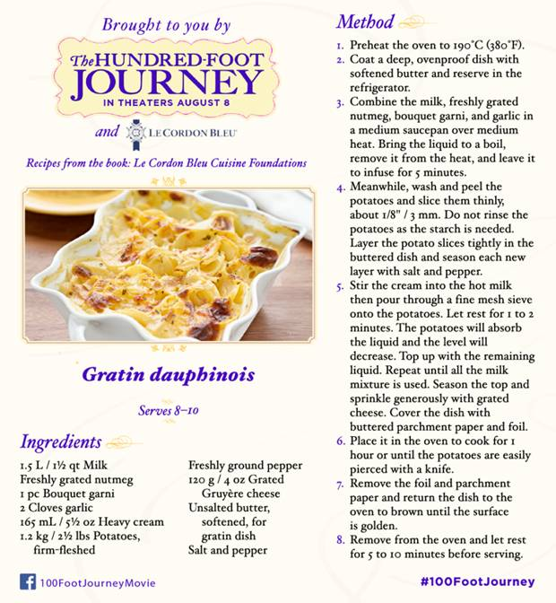 100 Foot Journey, Scalloped Potatoes Recipe