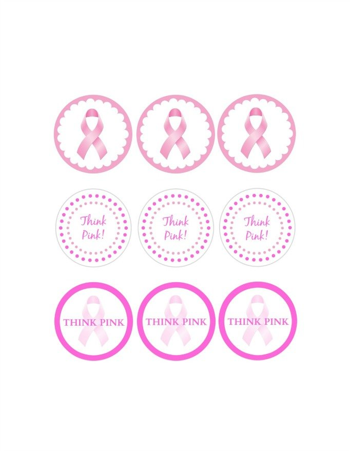 Think Pink Cupcake Topper Printables