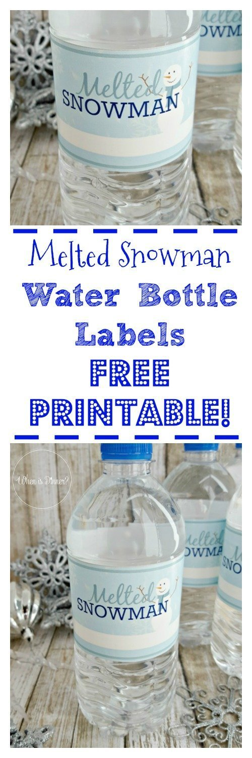 Melted Snowman Printable Water Bottle Labels