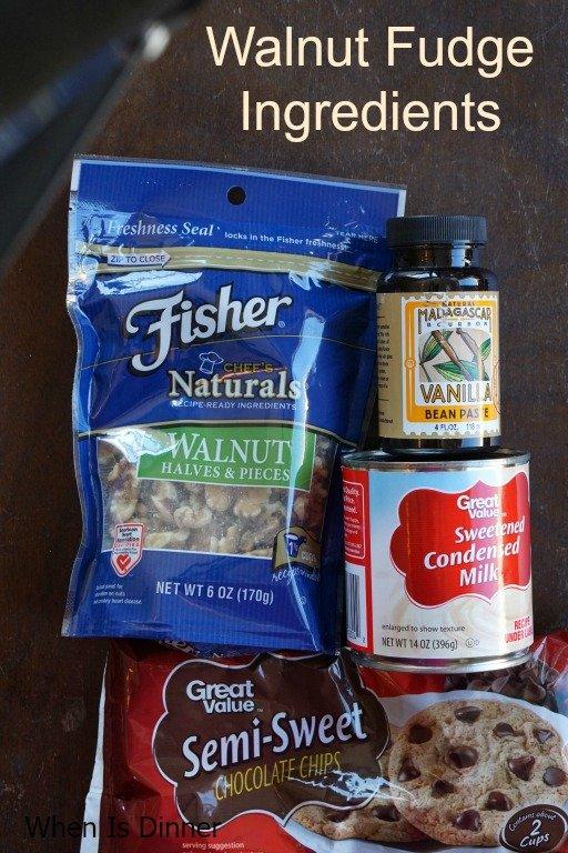 Walnut Fudge Ingredients