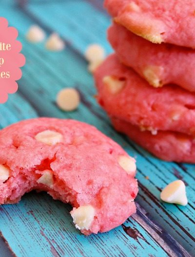 Strawberry White Chocolate Chip Cake Mix Cookies