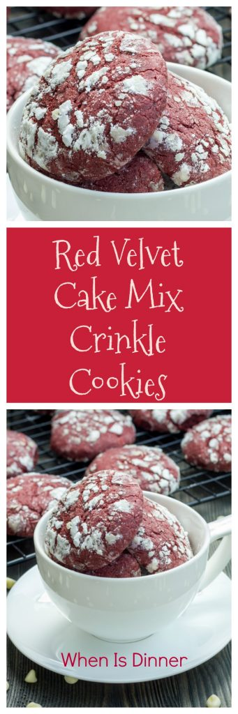 Cake Mix Red Velvet Crinkle Cookies