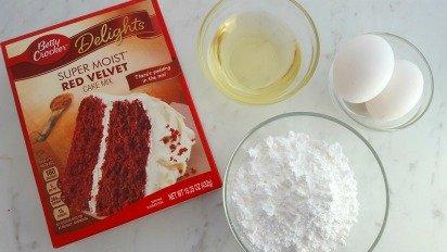 Cake Mix Red Velvet Heart Crinkle Cookies