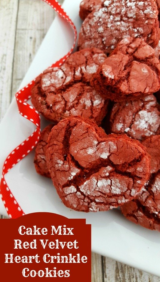 These Cake Mix Red Velvet Heart Crinkle Cookies require just FOUR ingredients and are ready to eat in just 15 minutes, perfect for Valentine's Day!!!