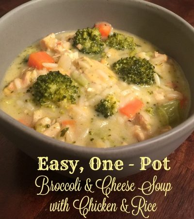 Easy One Pot Broccoli & Cheese Soup with Chicken & Rice