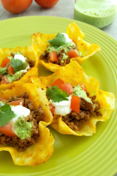 Keto Cheese Shell Taco Cups with Jalapeno Cilantro Sauce