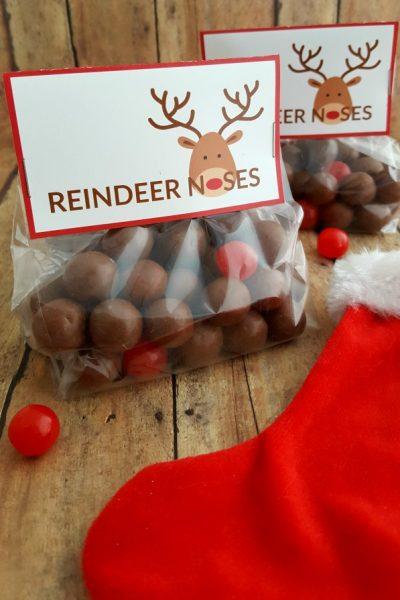 Reindeer Noses Printable Bag Topper