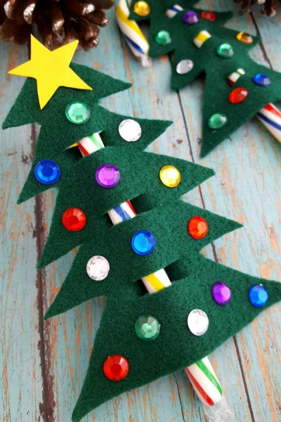 Candy Cane Christmas Tree Ornament/Gift Topper Craft
