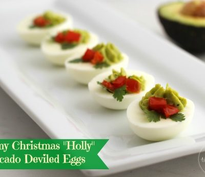 "Creamy Christmas ""Holly"" Avocado Deviled Eggs"