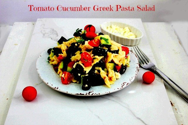 Tomato Cucumber Greek Pasta Salad