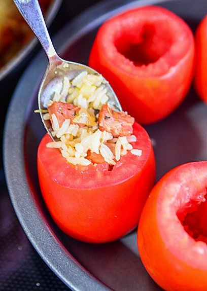 Chorizo Rice Stuffed Tomatoes