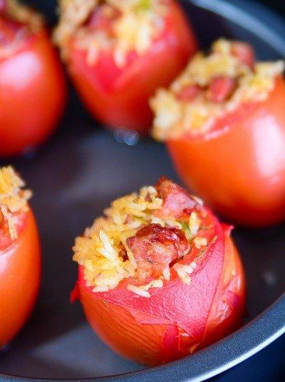 Chorizo Rice Stuffed Tomatoes