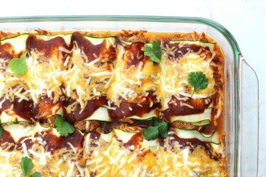 Zucchini Chicken Enchiladas {Low Carb}