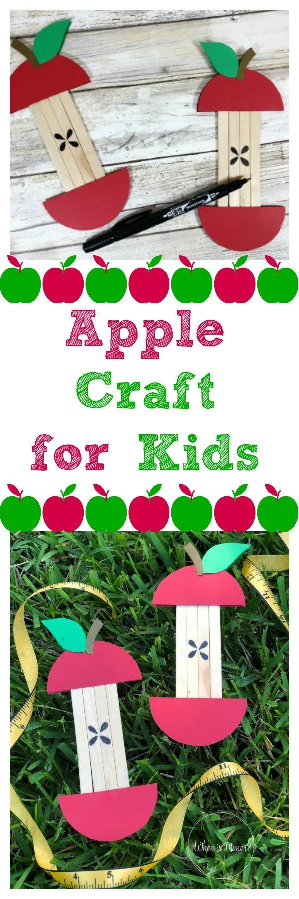 Apple Craft for Kids. Work on shapes, colors, cutting and counting with this simple Apple craft for kids, created from wooden craft sticks.