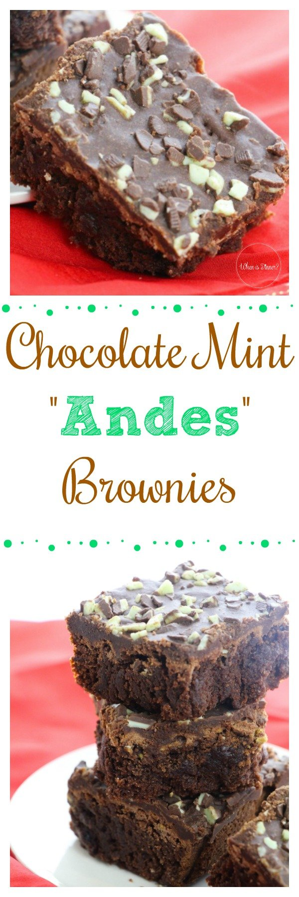 These Chocolate Mint Brownies are full of fudgy deliciousness. Topped with Chocolate Ganache and Andes Mint Chocolate Candies, you won't want to miss trying these!