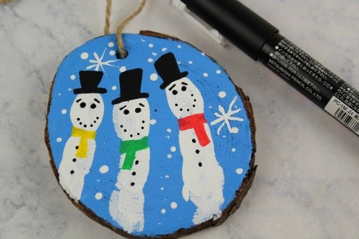 Fingerprint Snowman Christmas Ornaments