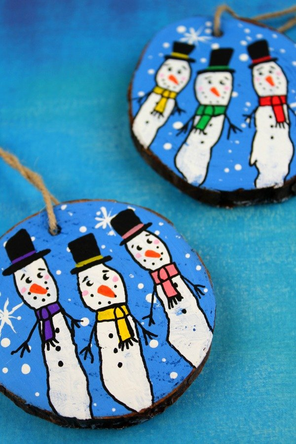 Fingerprint Snowman Christmas Ornaments