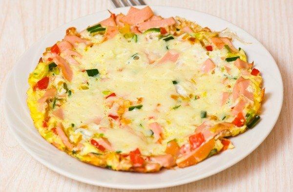 Scrambled Eggs Cheese, Ham & Tomatoes