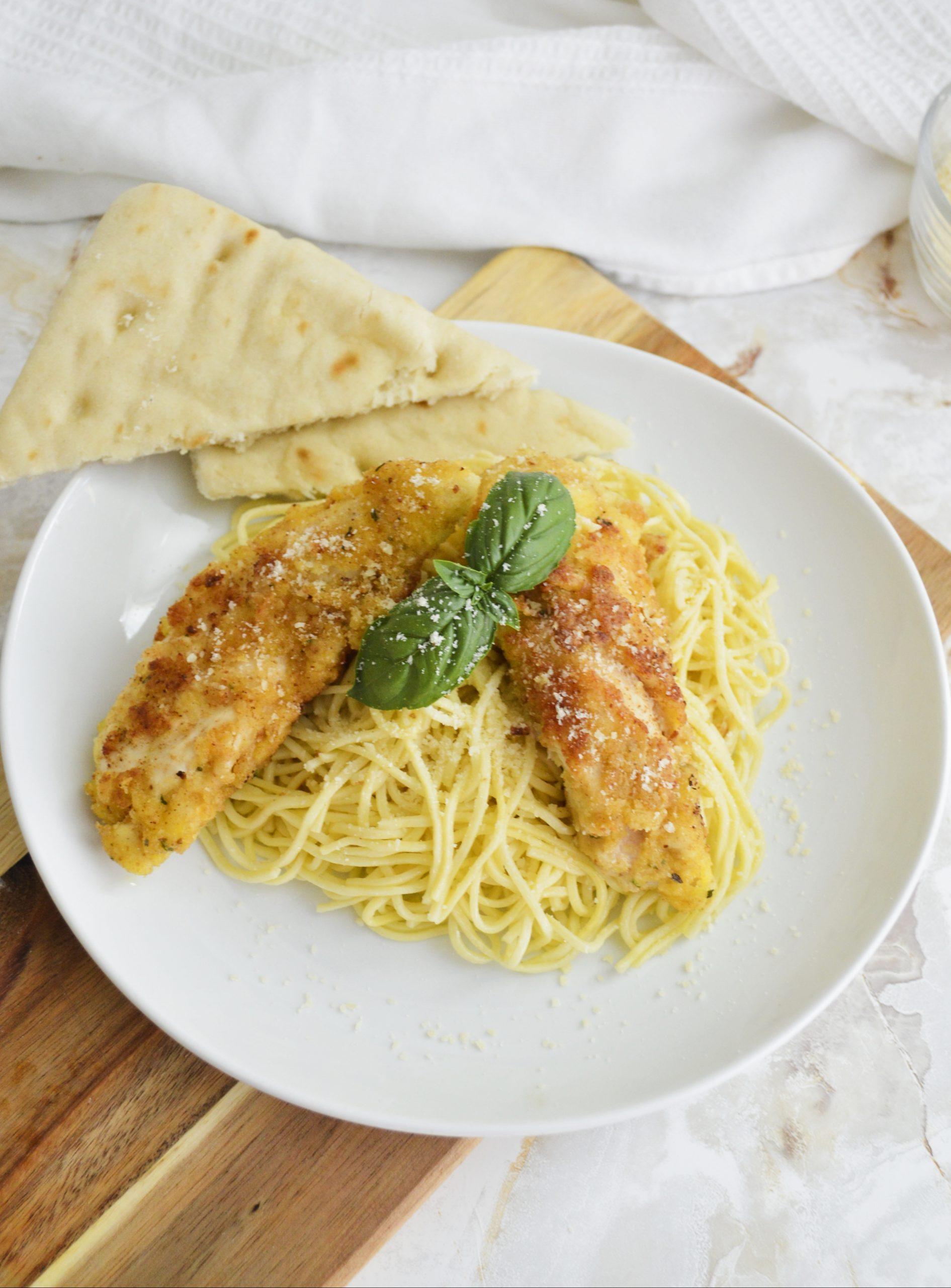 Chicken Tenderloins and Garlic Pasta