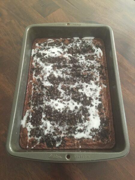 Oreo Brownies in Baking Pan